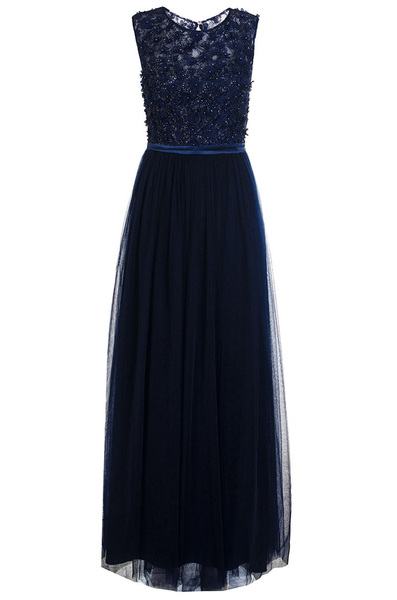 Quiz Navy Tulle Flower Maxi Dress, Blue