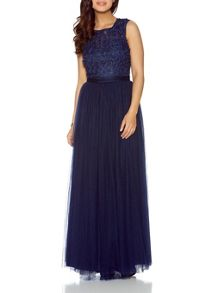 Quiz Navy Tulle Flower Maxi Dress