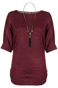 Quiz Berry Light Knit Lace Batwing Necklace Top
