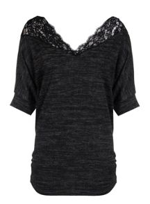 Quiz Charcoal Light Knit Scallop Lace Top