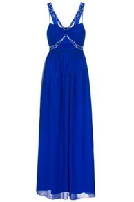 Quiz Royal Blue Chiffon Embellished Maxi Dress