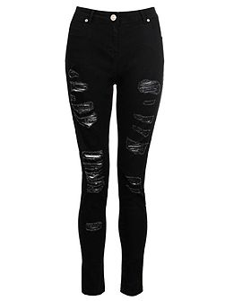 Black Denim Ripped Skinny Jeans