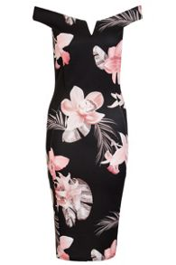 Quiz Black Flower Print Bardot Bodycon Dress
