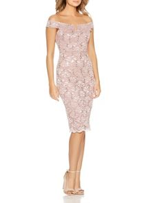 Quiz Pink Lace Sequin Bardot Dress