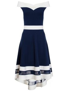 Quiz Navy And Cream Sweetheart Dress