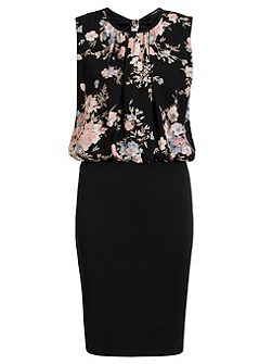 Black Floral Print Bubble Midi Dress