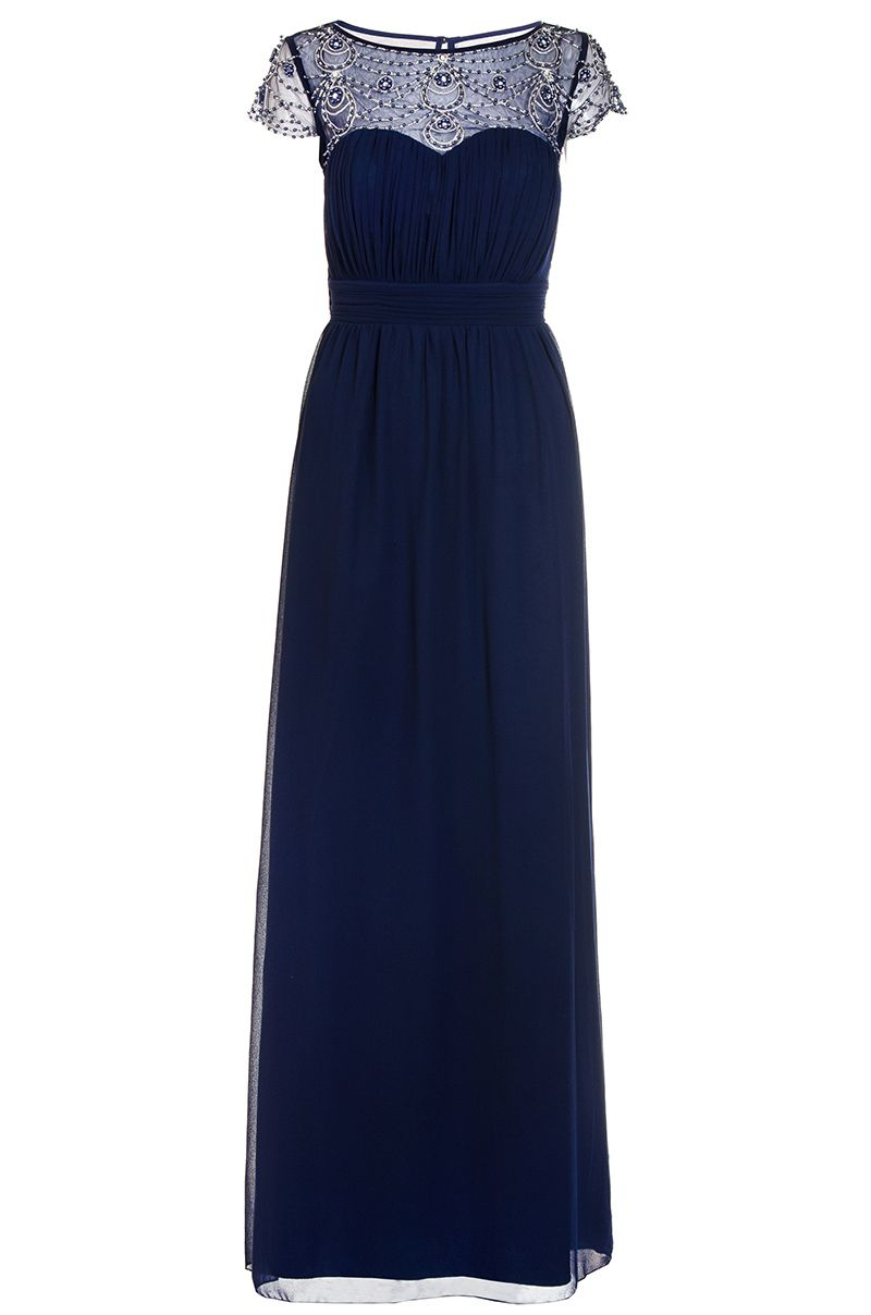 Quiz Navy Embroidered Cap Sleeve Maxi Dress, Blue