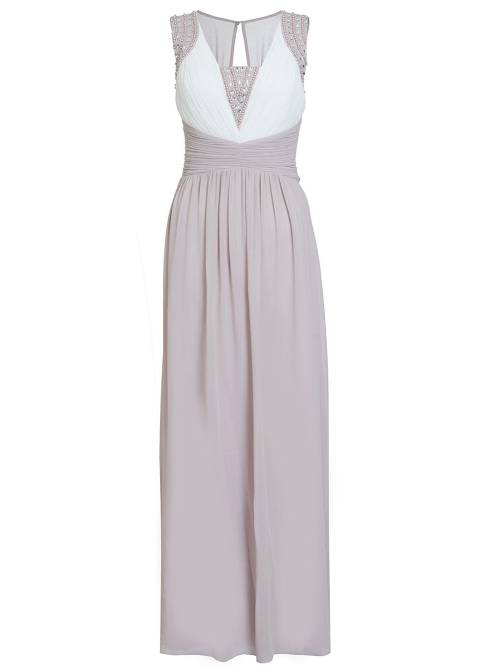 Quiz Mocha And Cream Chiffon Embellished Maxi Dress, Cream