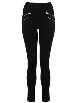 Black Four Gold Zip Leggings