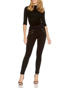 Quiz Black Four Gold Zip Leggings
