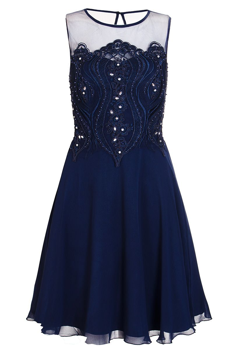 Quiz Navy Chiffon Embellished Short Dress, Blue