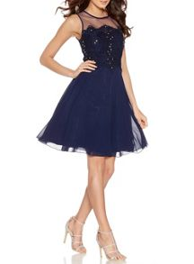 Quiz Navy Chiffon Embellished Short Dress