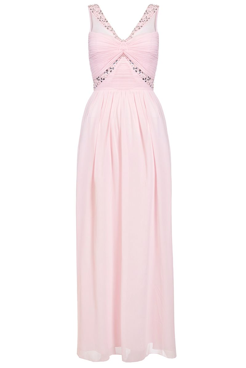 Quiz Pink Chiffon Diamante Twist Front Maxi Dress, Pink