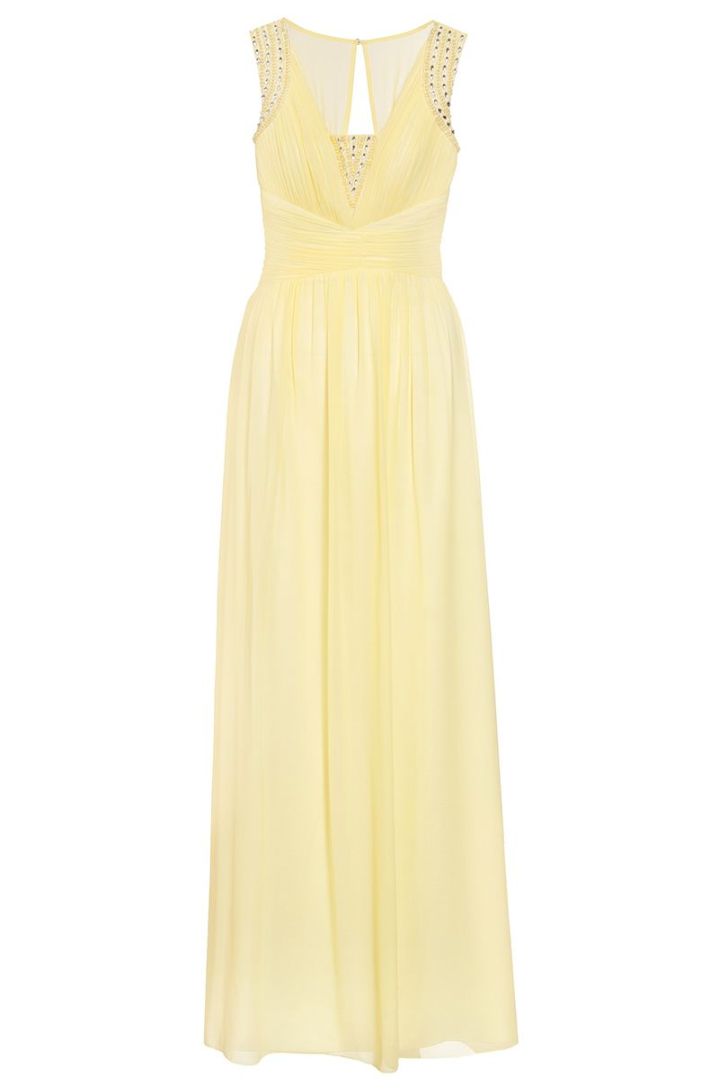 Quiz Lemon Chiffon Embellished V Neck Maxi Dress, Yellow