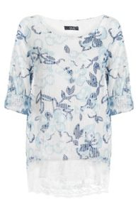 Quiz White And Blue Mesh Flower Print Lace Hem Top