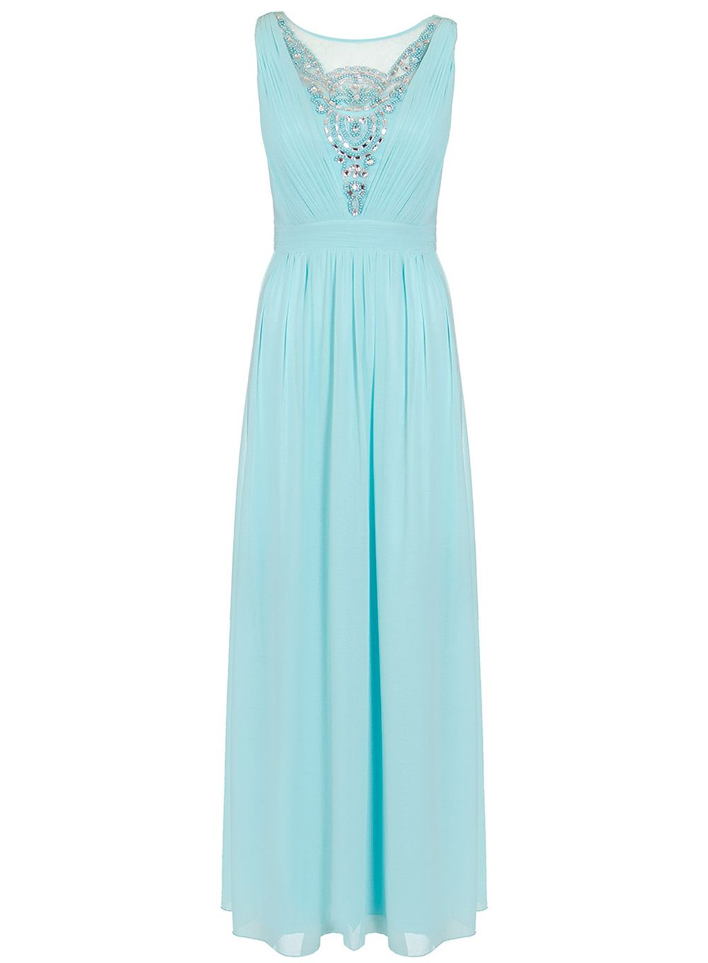 Quiz Aqua Chiffon Maxi Dress, Blue