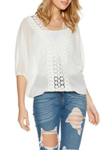 Quiz Cream Batwing Crochet Lace Back Top