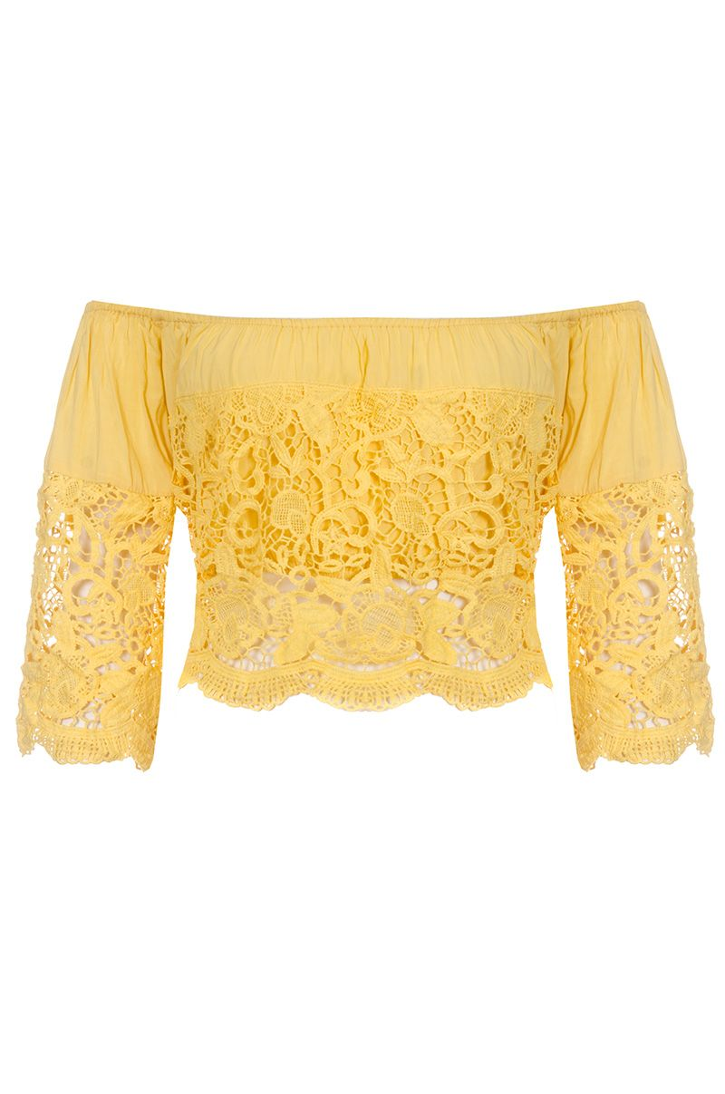 Quiz Yellow Crochet Bardot Top, Yellow