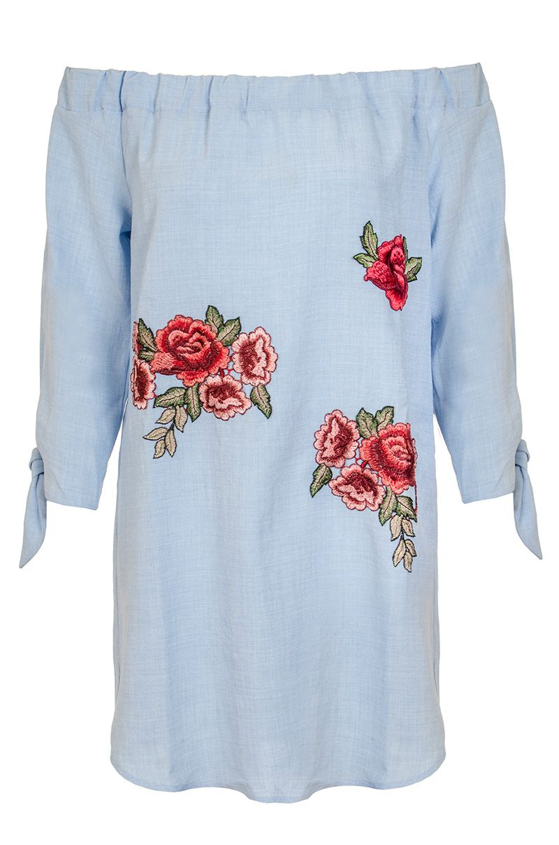 Quiz Quiz Blue Chambray Embroidered Bardot Top, Blue