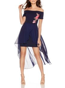 Quiz Navy Bardot Embroidered Dress