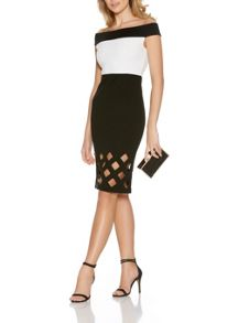 Quiz Bardot Laser Cut Midi Dress