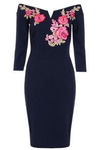 Quiz Navy Embroidered Bardot Midi Dress