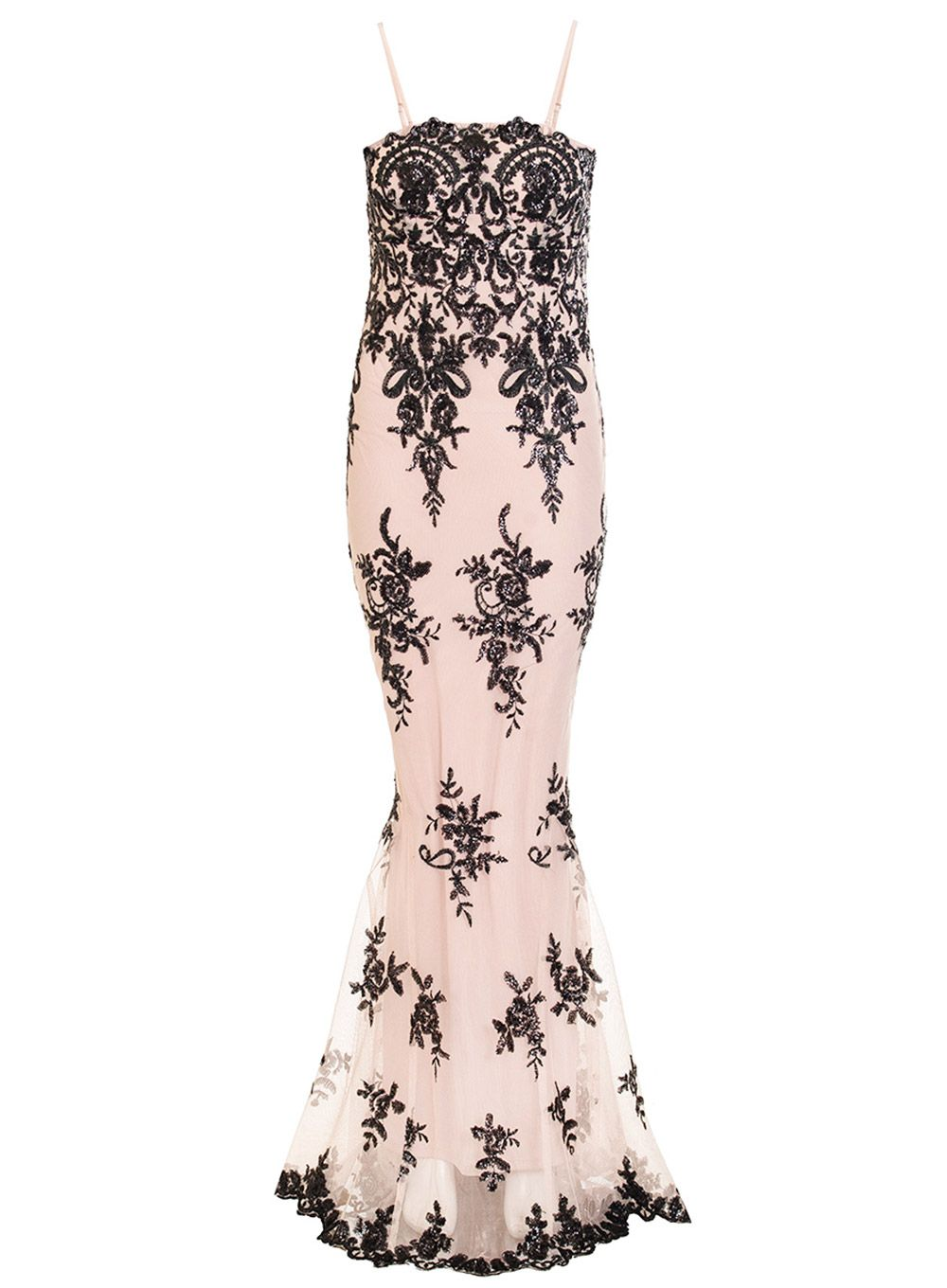 Quiz Nude Sequin Sequin Scallop Fishtail Maxi Dress, Pink