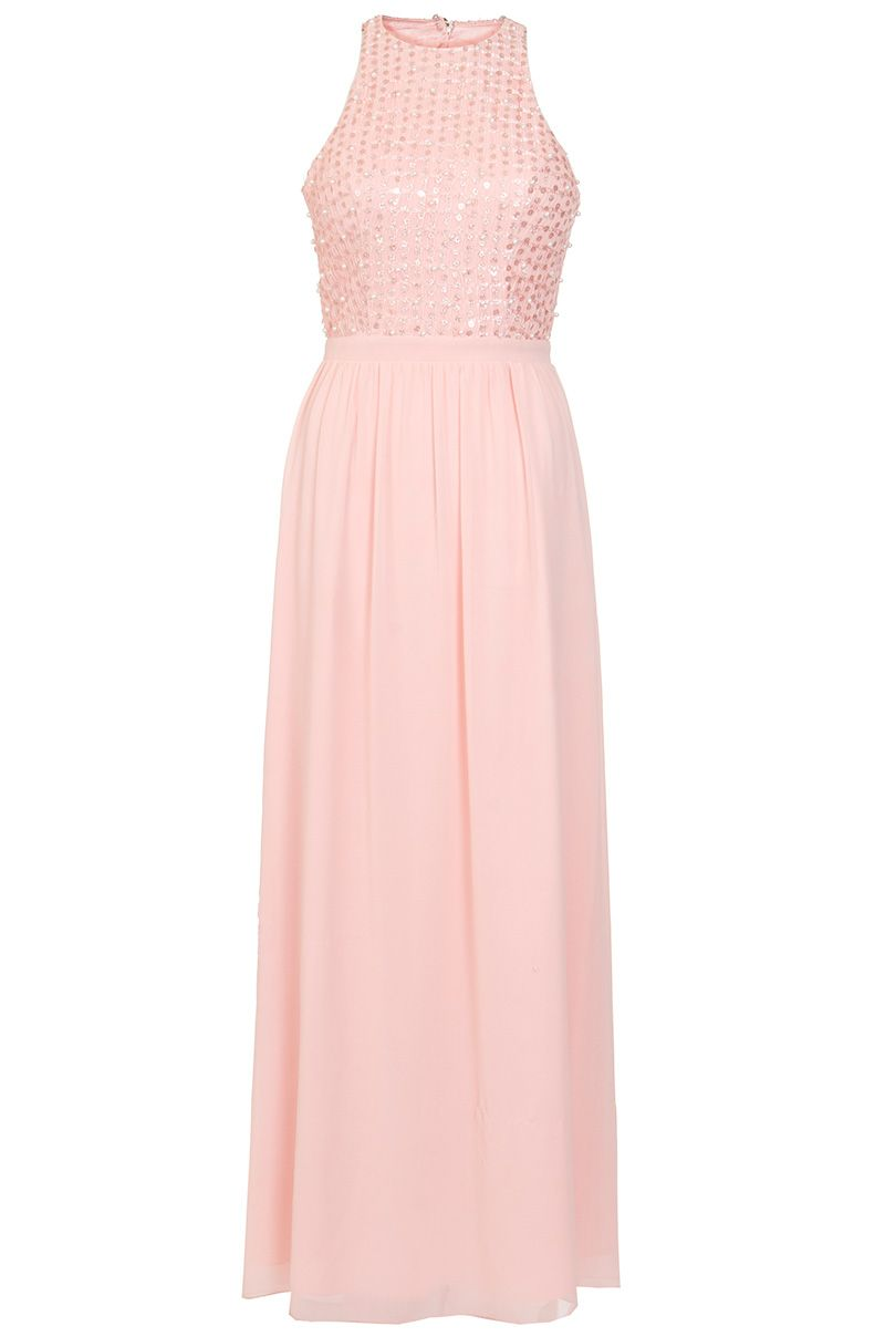 Quiz Peach Chiffon Pearl High Neck Maxi Dress, Pink