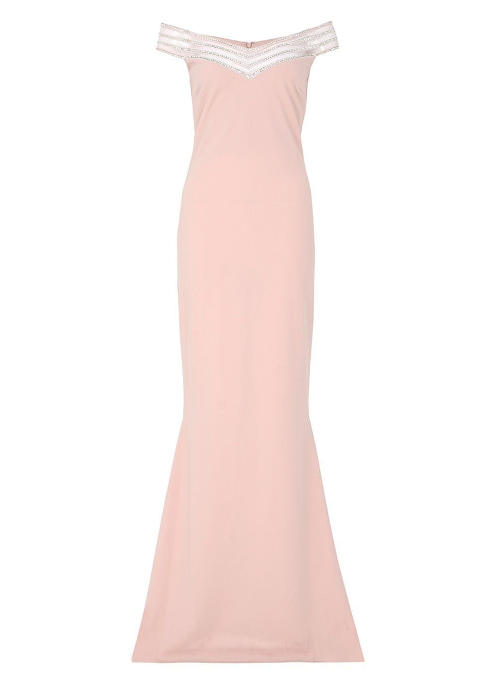 Quiz Nude Crepe Diamante Maxi Dress, Pink