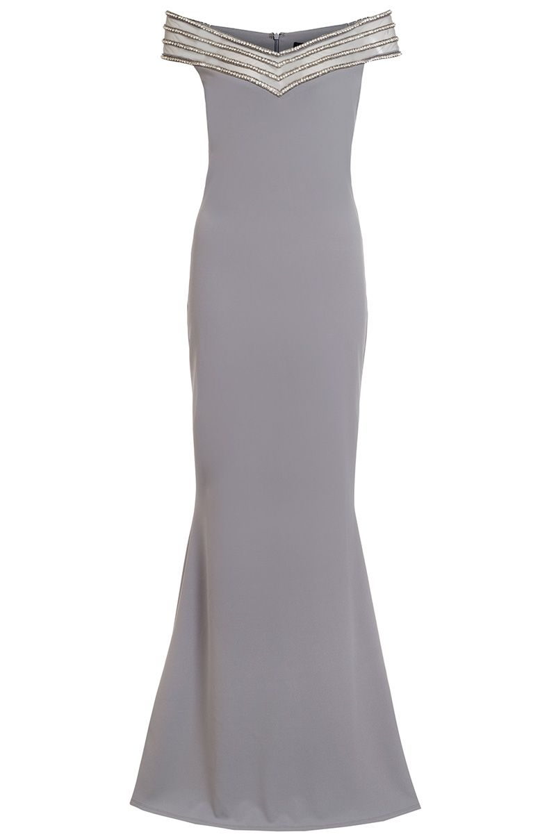 Quiz Grey Diamante Bardot Fishtail Maxi Dress, Grey