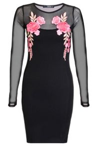 Quiz Black And Pink Mesh Long Sleeve Embroidered Dress