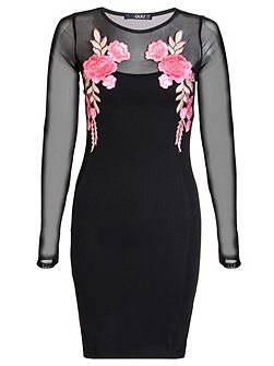 Black And Pink Mesh Long Sleeve Embroidered Dress