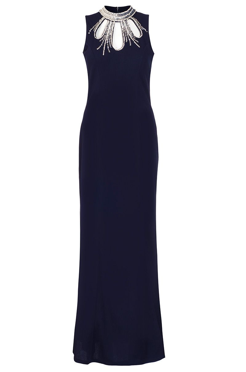 Quiz Navy Embellished Fishtail Maxi Dress, Blue