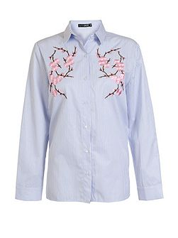 Blue Stripe Embroidered Flower Shirt