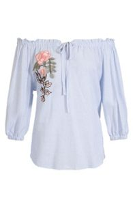 Quiz Blue And White Bardot Embroidered Top