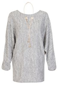 Quiz Grey Light Knit Necklace Detail Top