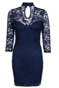 Quiz Navy Lace Choker Dress