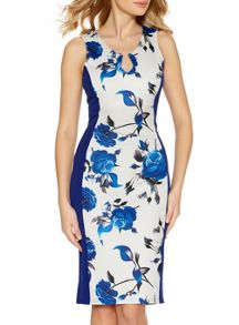 Quiz Cream And Blue Floral Panel Midi Dress