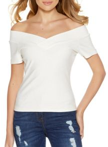 Quiz Cream Bardot Short Sleeve Top