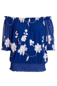 Quiz Blue And White Floral Embroidered Bardot Top