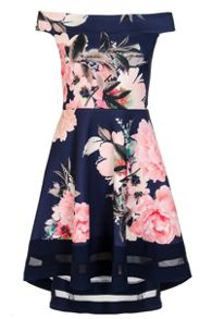 Quiz Navy And Pink Bardot Dip Hem Dress