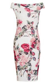 Quiz Cream And Red Floral Bardot Dress