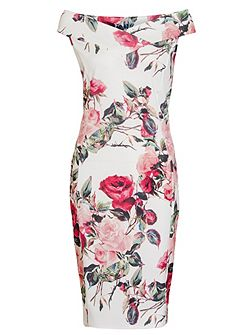 Cream And Red Floral Bardot Dress