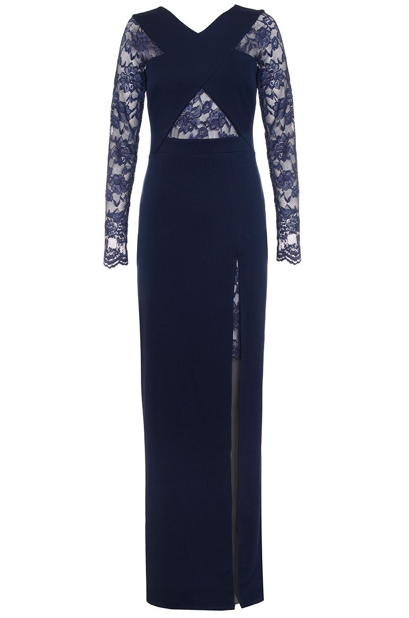 Quiz Navy Lace Detail Crossover Maxi Dress, Blue