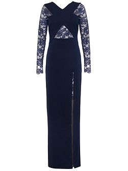 Navy Lace Detail Crossover Maxi Dress