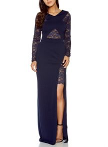 Quiz Navy Lace Detail Crossover Maxi Dress