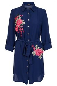 Quiz Navy And Pink Floral Shirt Dress