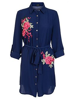 Navy And Pink Floral Shirt Dress