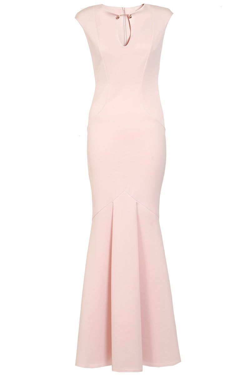 Quiz Nude Bodycon Fishtail Maxi Dress, Nude