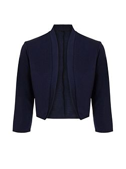 Navy Cropped 3/4 Sleeve Jacket